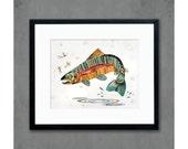 Jumping Rainbow Trout Art Print