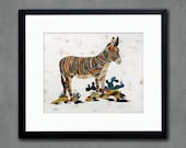 Burro Donkey in Cactus Patch Paper Print