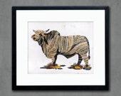 Brahman Bull Print on Paper