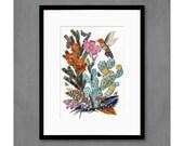 Humming Bird with Cactus Art Print
