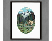 Tent Camping in the Mountains Art Print