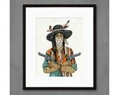 Cowgirl with Bandana V2 Art Print