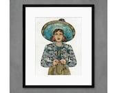 The Naturalist Woman With  Binoculars Art Print