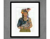 Mother Nature with Lynx Art Print