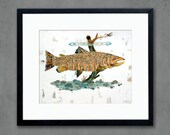 Brown Trout Swimming in Stream Art Print by Dolan Geiman