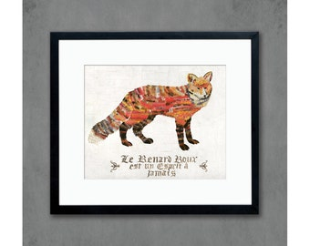 16 x 20 Red Fox with Vintage French Text Archival Print