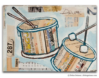 Band Practice Drums DG MINI Small Art Print on Wood