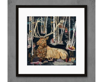 Pink Marble Sleep Elk Art Print