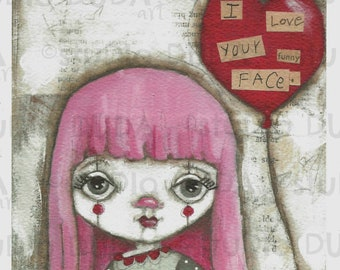 "Art print on velvety bright paper -  ""Funny Face"" - 5 x 7"" print - Free U.S. shipping"