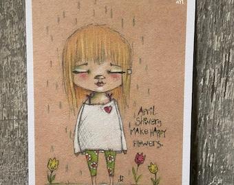 "Art print on velvety bright paper -  ""April Showers"" - 5 x 7"" print - Free U.S. shipping"