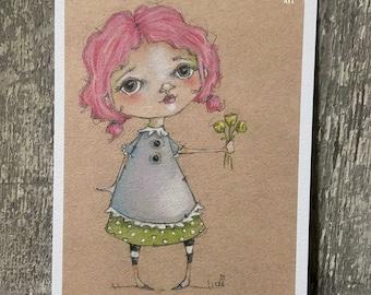 "Art print on velvety bright paper -  ""Bouquet"" - 5 x 7"" print - Free U.S. shipping"
