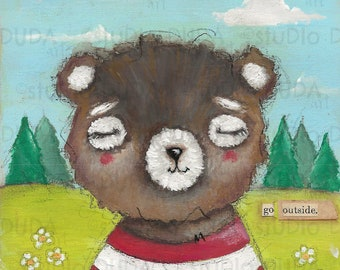 Original Mixed Media Painting on Wood - Advice From a Bear - Free US shipping