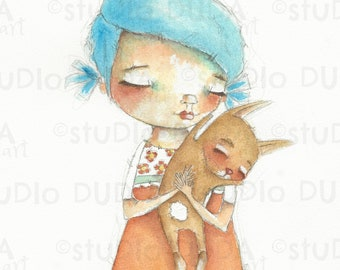 Original Whimsical Sweet Girl and Bunny Watercolor Painting by Diane Duda - Bunny on My Shoulder