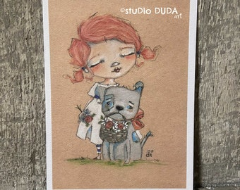 "Art print on velvety bright paper -  ""Flower Girl"" - 5 x 7"" print - Free U.S. shipping"
