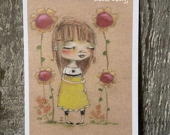 "Art print on velvety bright paper -  ""Wallflower"" - 5 x 7"" print - Free U.S. shipping"