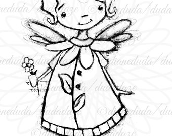Daisy Mae Flower Fairy Digital Stamp - Printable - Art to Color by STUDIODUDAART