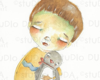 Original Whimsical Sweet Boy and Penguin Watercolor Painting by Diane Duda - My Penguin