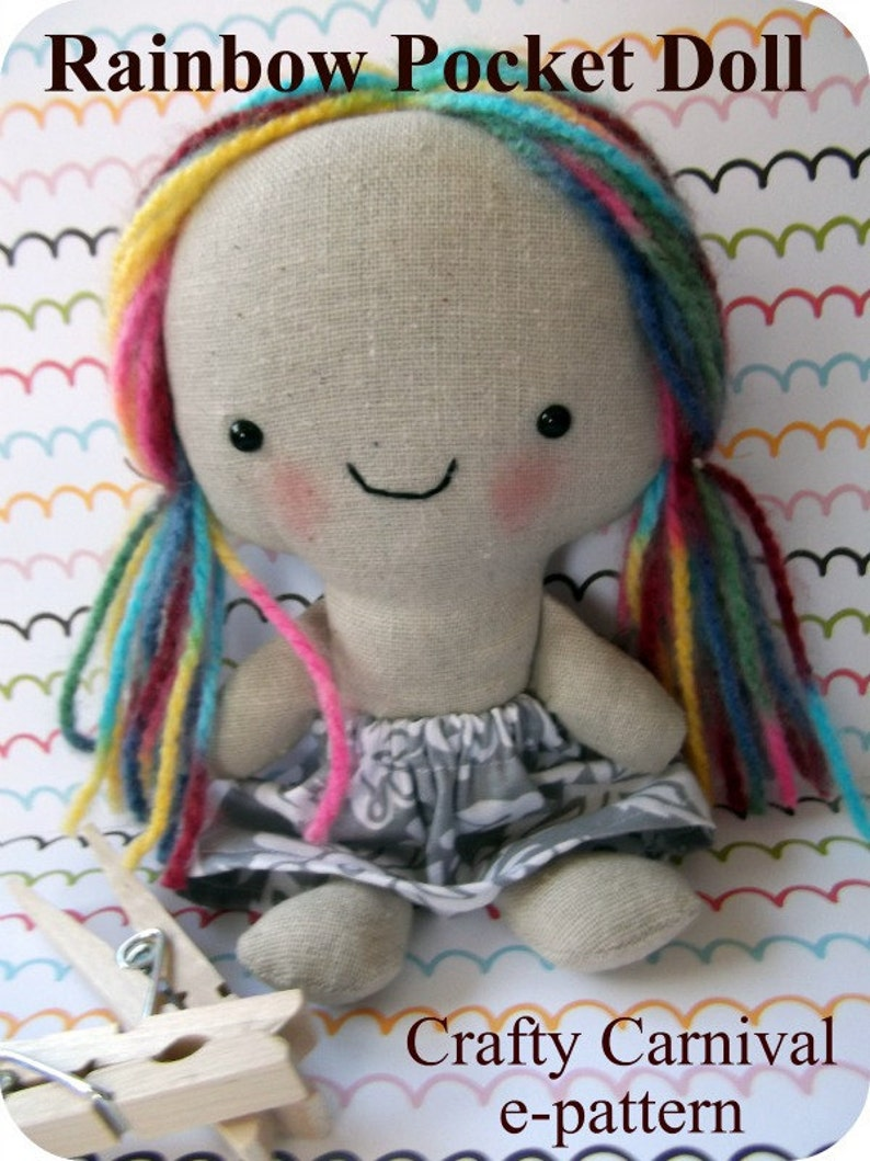 e pattern and picture tutorial for Rainbow Pocket Doll super image 0