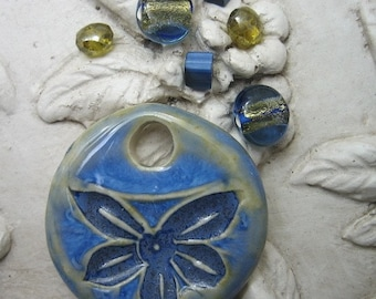 Hawaiian Blue Flower Pendant and Glass Bead Set from Sweetpea Cottage