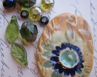 Watercolor Dreams Pendant and Glass Bead Set from Sweetpea Cottage