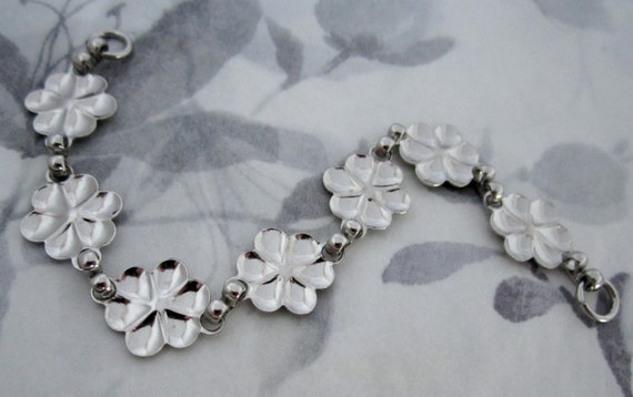 4 pcs. Vintage argenté fleur inachevée bracelet longueur blancs pour collage - f4285