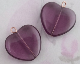 10 pcs. Czech glass amethyst purple heart charms 21x18mm - f2798