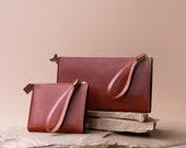 Allister Wallet Clutch in Sustainable Cognac Leather, Handmade Responsibly by Awl Snap