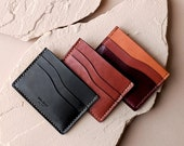Rey Card Wallet in Sustainable Vegetable Tanned Leather, Handstitched by Awl Snap Leather Co