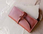 Bek Wallet Clutch in Sustainable Cognac Leather, Handmade Responsibly by Awl Snap Leather Co in USA