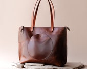 Artemis Modern Tote in Sustainable Leather- Day (Laptop) Bag or Weekender Tote- Handmade Responsibly by Awl Snap Leather Co