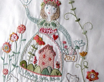 I bring you love - stitchable embroidery sampler design printed on cotton