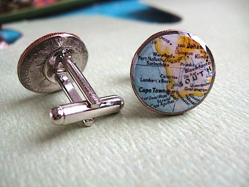 South Africa Springbok Design Rhodium Plated Cufflinks in Personalised Cufflink Box