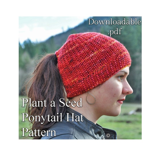 Ponytail Hat or Messy Bun Hat Knitting Pattern .pdf instant  c805cb6d6f7