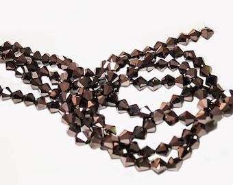 Bronze Bicone Crystals- crystal beads- bronze beads- glass beads- designer beads- bicone crystals- jewelry supplies- beading supplies