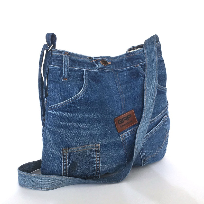 9919c27353 Denim crossbody bag Recycled jeans bag Denim shoulder bag