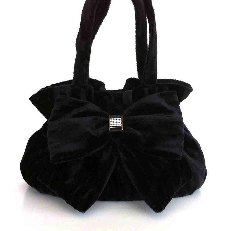 7a63d11114fc4 Samt Bogen Tasche schwarz Stoff Handtasche schwarz Geldbörse