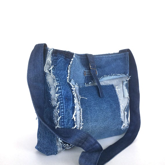 Recycled cross body bag , blue jean side bag , girls denim bag , jean cross body purse , vegan denim cross over tote , denim school bag