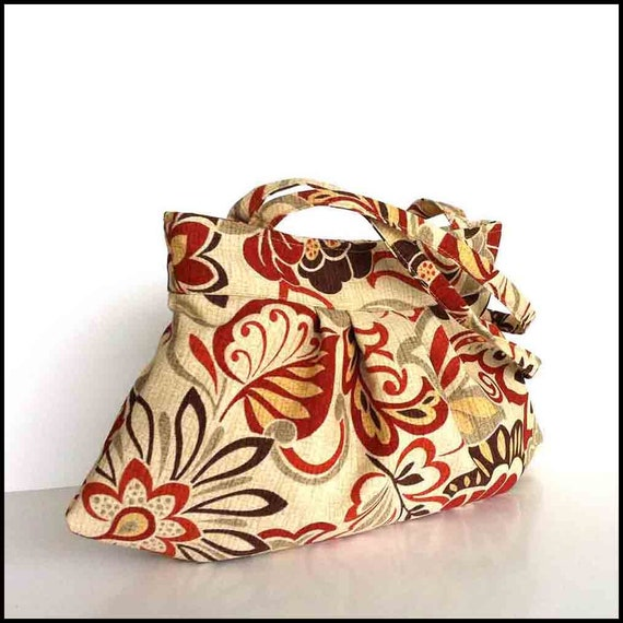 Handmade Messenger Bag in Khaki and Floral Fabrics Fully Lined with Inside Pockets