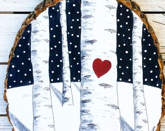 Wooden Painting -Newlywed Painting -Personalized Painting -Love Birch Painting