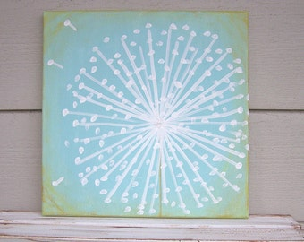Dandelion Painting -Acrylic Painting-12x12-Rustic Nursery Painting-Shabby Chic Nursery Wall Decor-Distressed Painting-Sky Blue-Shabby Green