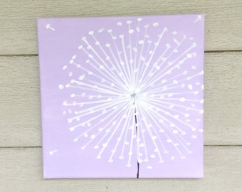 Dandelion Painting-Dandelion Art-Nursery Wall Art-Nursery Decor -Whimsical Painting-Nursery Art-Lavender -12x12