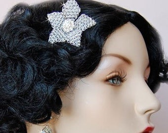 Wedding Hair Flower Pin, Swarovski Hair Flower,  Bridesmaid Accessory - Wedding Accessories - Swarovski Clear Crystal Flower