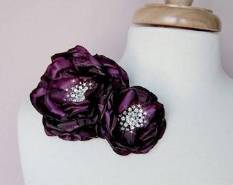 Wedding Sash Flowers, Bridesmaid Accessories Sash Accessories, Bridal Hair Piece - Enchanted Eggplant