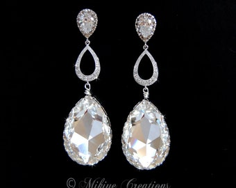 Chandelier Bridal Earrings, Wedding Swarovski Crystal Cubic Zirconia Large Drop Earrings - Tiffany