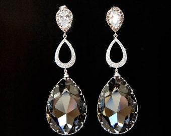Wedding Jewelry, Bridal Earrings, Chandelier Wedding Earrings, Wedding Jewelry  - Tiffany With Black Diamonds