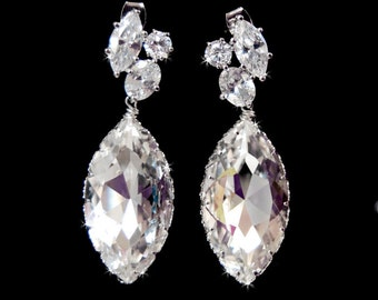 Wedding Jewelry, Wedding Earrings, Large Bridal Chandelier Swarovski Crystal Cubic Zirconia Marquis Drop Earrings -140