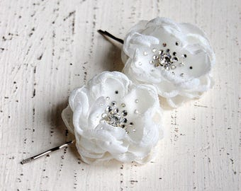 Wedding Hair Flowers, Bridesmaid Hair Flowers, Flower Girl Hair Pins, Wedding Accessories - Wedding Mini Hair Flower Bobby Pins - Christie