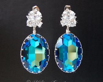Wedding Earrings, Bridal Chandelier Swarovski Crystal Cubic Zirconia Drop Earrings - Lisette in Bermuda Blue, Wedding Accessories