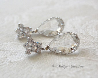 Wedding Jewelry, Wedding Earrings, Bridal Chandelier Swarovski Crystal Cubic Zirconia Drop Earrings -E126