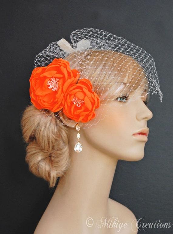 Wedding Gown Orange Sash Flowers Bridesmaid Hair Clips Etsy